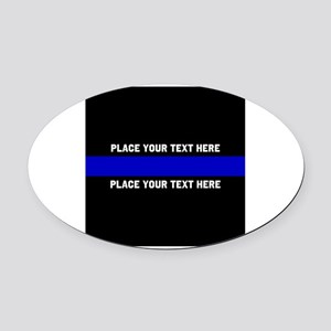 Thin Blue Line Customized Oval Car Magnet
